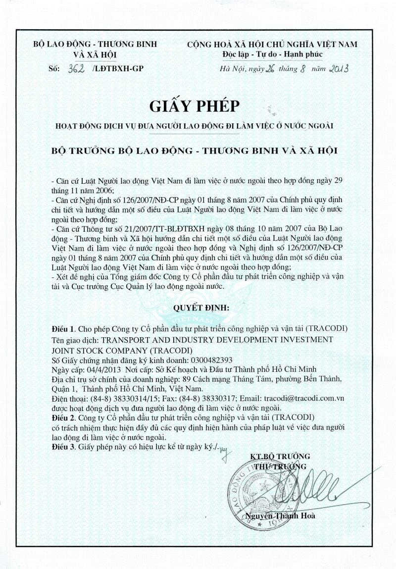 Mẫu giấy phép xuất khẩu lao động